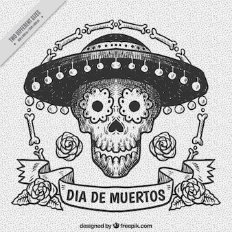 Hand-drawn background for day of the dead