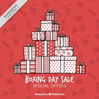 Hand-drawn background of boxing day with stacked gifts