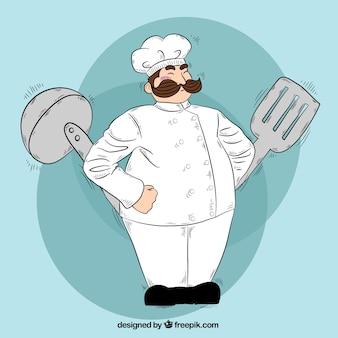 Hand-drawn background of chef with kitchen utensils