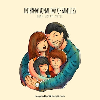 Hand-drawn background of father embracing his family