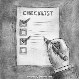 Hand-drawn background of hand holding a fountain pen and checklist