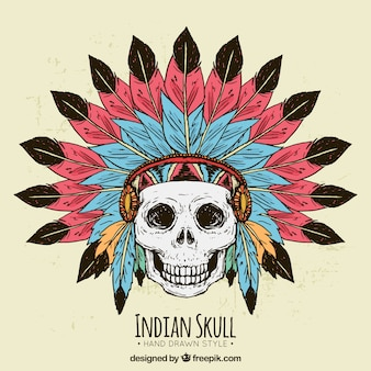 Hand-drawn background of indian skull