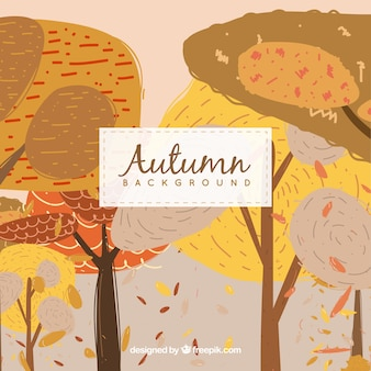 Hand drawn background with autumn trees
