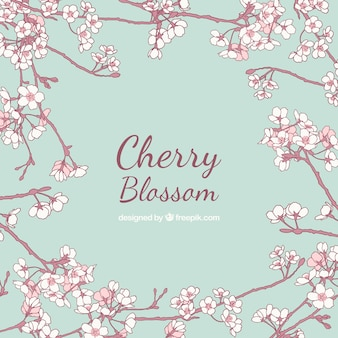Hand-drawn background with beautiful branches in bloom