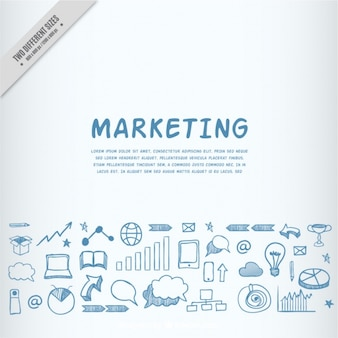Hand-drawn background with business elements