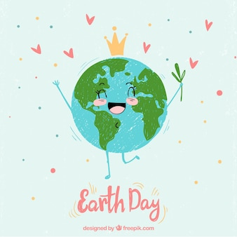 Hand-drawn background with cheerful planet earth