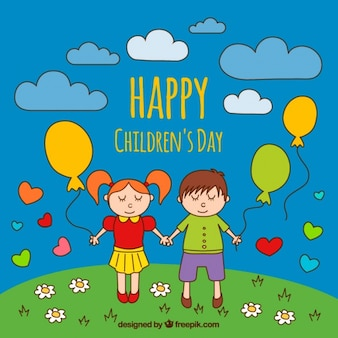Hand-drawn background with children holding balloons
