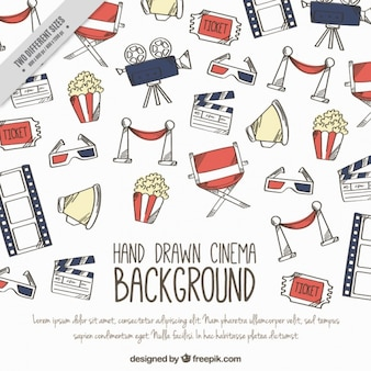 Hand-drawn background with cinema items
