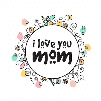 Hand-drawn background with color details for mother's day
