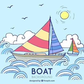 手で描かれた背景と色の付いたボート