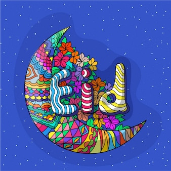 Hand-drawn background with colorful moon and floral decoration