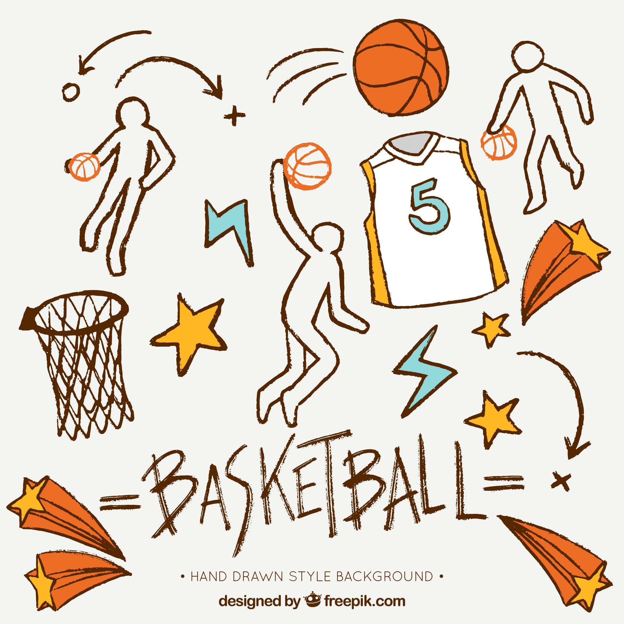 Hand-drawn background with decorative basketball elements
