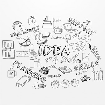 Hand-drawn background with different business items