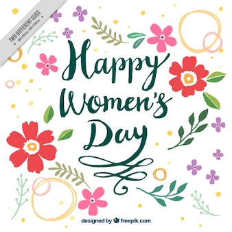 Hand-drawn background with different flowers for women's day