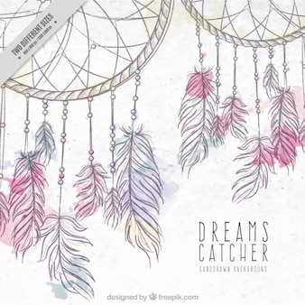 Hand drawn background with dreamcatchers