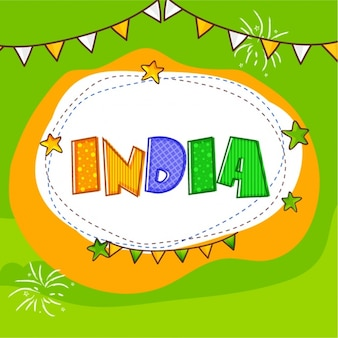 Hand-drawn background with garlands for indian republic day