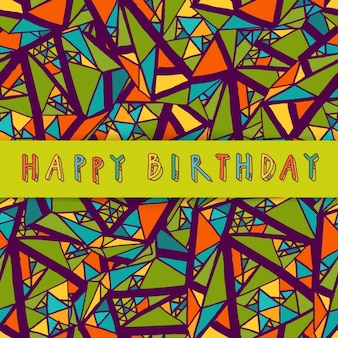 Hand drawn background with geometric elements for birthday
