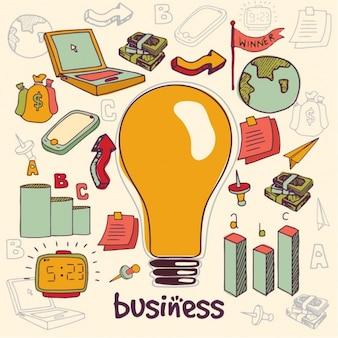 Hand-drawn background with light bulb and business items