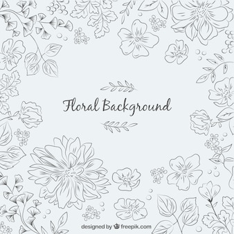 Hand drawn background with modern flowers