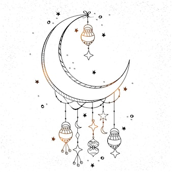 Hand-drawn background with moon and lanterns hanging