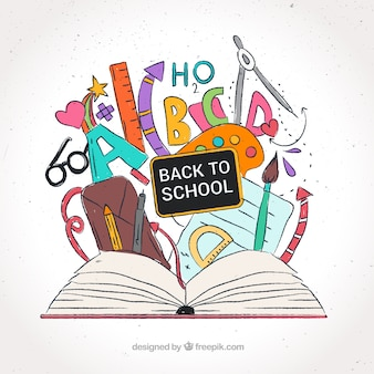 Hand drawn background with open book and other items