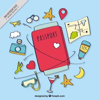Hand-drawn background with passport and travel items