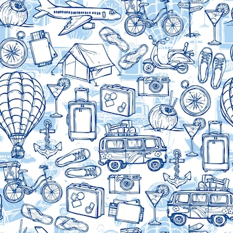 Hand drawn background with travel elements