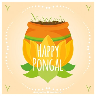 Hand-drawn background with vegetation for pongal