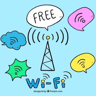Wifi信号で手描きの背景