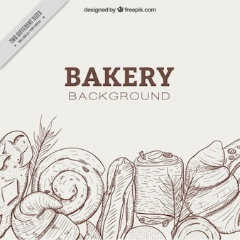 Hand drawn bakery background with delicious desserts