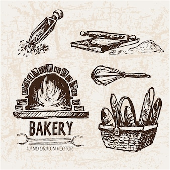Hand drawn bakery items