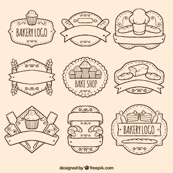 Hand drawn bakery logos pack