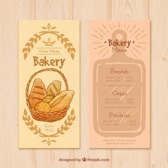 Hand drawn bakery menu template