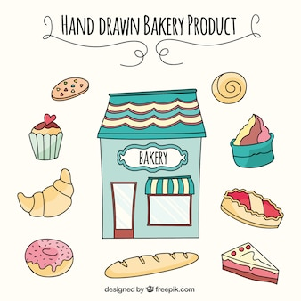 Hand drawn bakery products collection