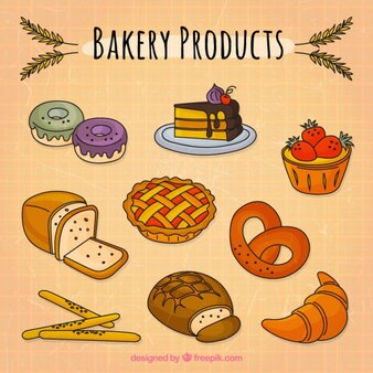 Hand drawn bakery products pack