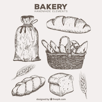 Hand drawn bakery products with basket and flour