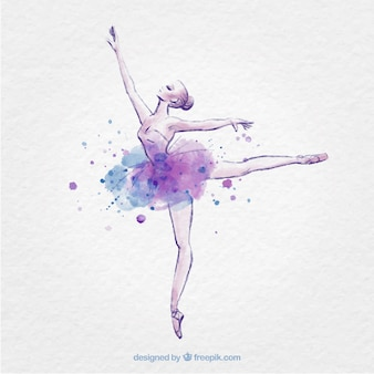 Hand drawn ballerina with ink splash