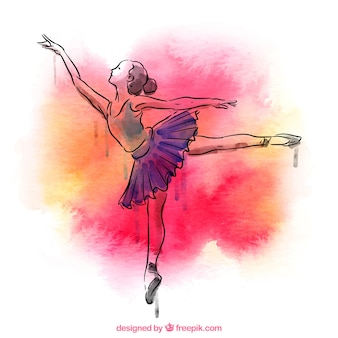 Hand drawn ballerina with watercolor splash