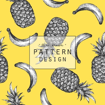 Hand drawn banana and pineapple pattern background