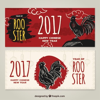 Hand-drawn banners for chinese new year