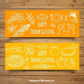 Hand-drawn banners for thanksgiving with white elements