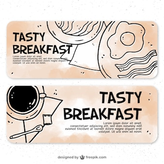 Hand-drawn banners of tasty breakfasts