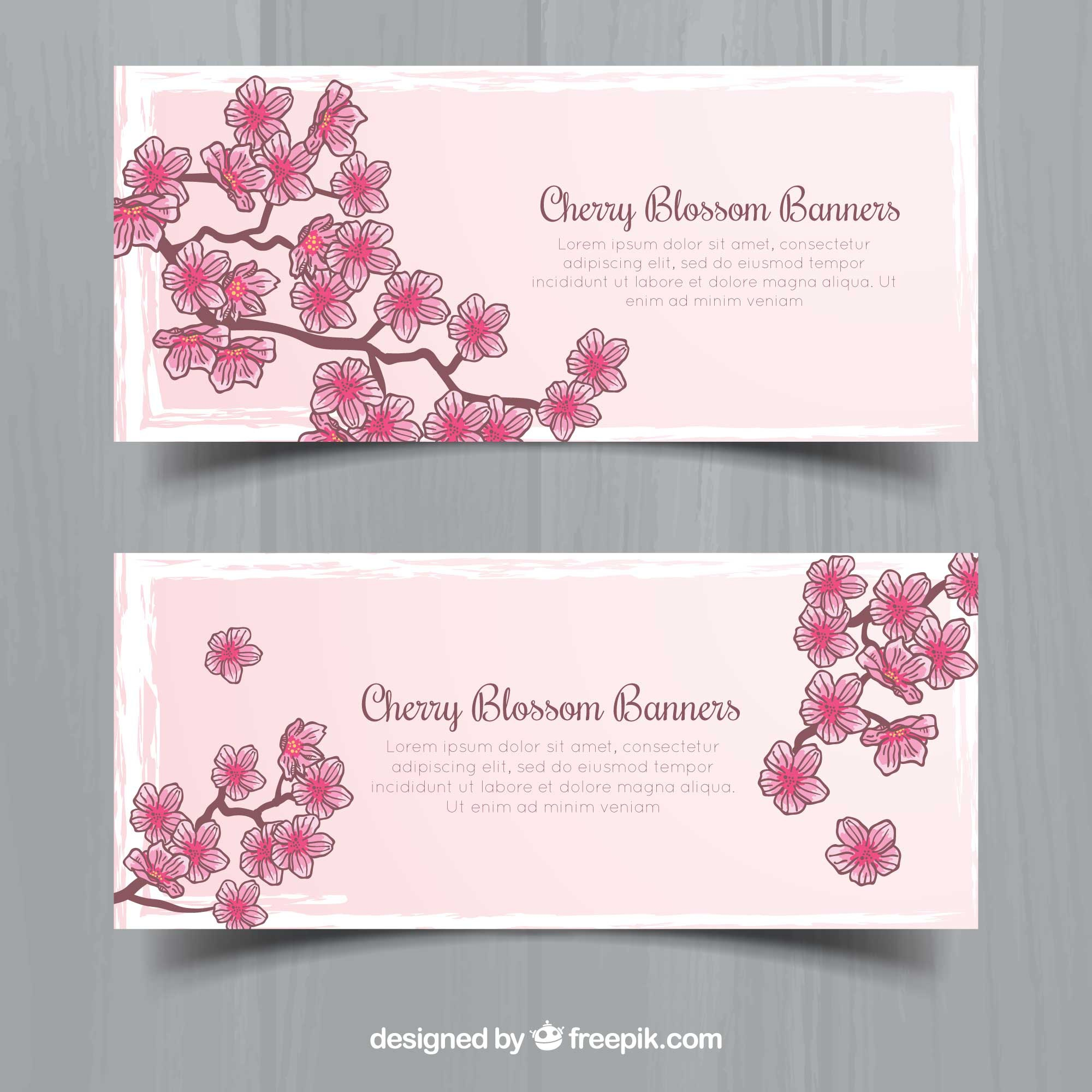 Hand-drawn banners with cherry blossoms
