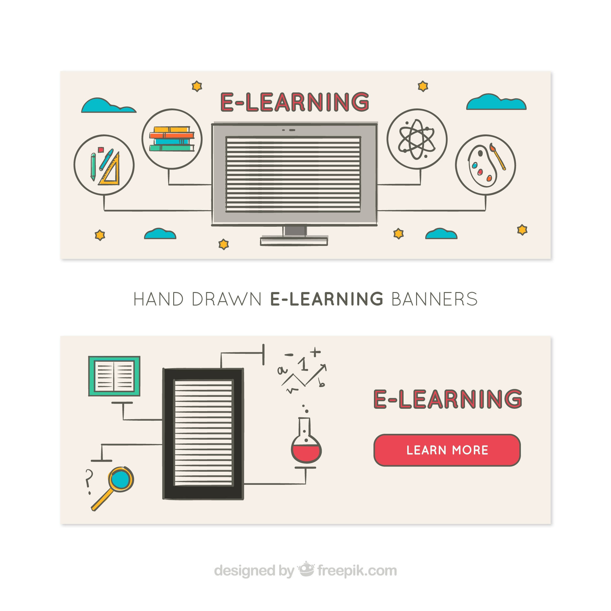 Hand-drawn banners with digital learning elements