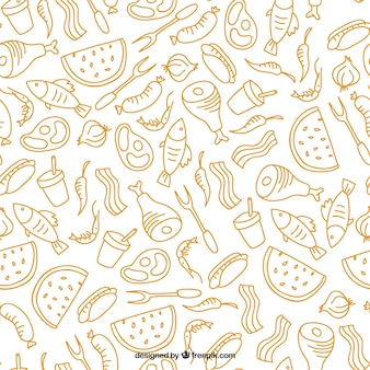 Hand drawn barbecue and foodstuffs pattern