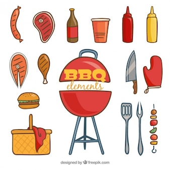Hand drawn barbecue elements pack