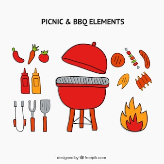 Hand drawn barbecue with elements