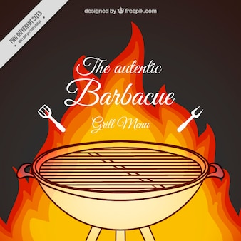 Hand drawn barbecue with fire background