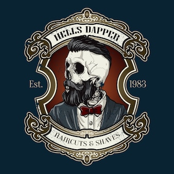 Hand drawn barber shop logo in vintage style
