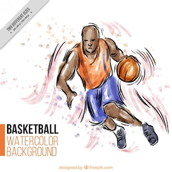 Hand drawn basketball player background